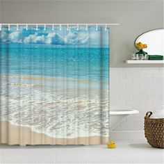Polyester Shower Curtain Bathroom Decor Home Decorations Seabed Fish Beach  Violin Wolf Howl White Shark