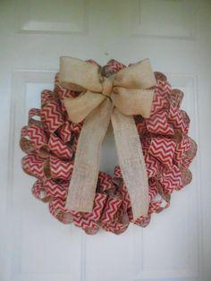 Fall Christmas Red Chevron Burlap Ribbon Wreath with Burlap Bow by TowerDoorDecor, $35.00