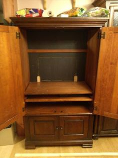 ... tv armoire to pantry, closet, painted furniture, repurposing upcycling