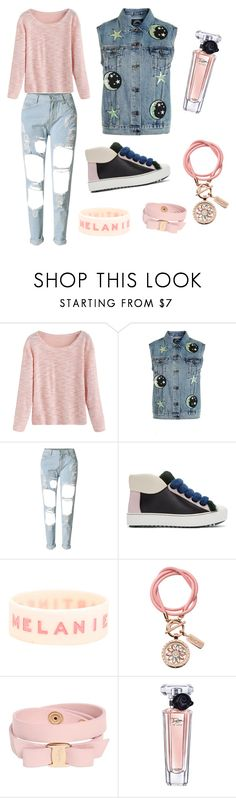 """""""Peachy Denim Style"""" by qgvntg ❤ liked on Polyvore featuring Topshop, WithChic, Fendi, nikki lissoni, Salvatore Ferragamo and Lancôme"""