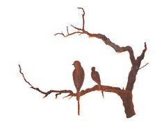 Earth+de+Fleur+Homewares+-+Outdoor+Wall+Sculpture+-+Bird+Branch