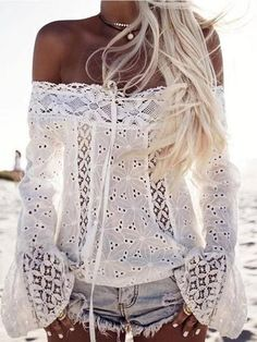 Fashion Shoulder Bell Sleeve Lace Panel Top