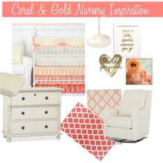 Coral & Gold Nursery Inspiration featuring Caden Lane's Coral & Gold Dot Baby Bedding