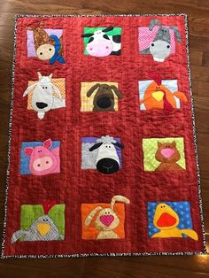 My adorable grandson, Neal, turned one in October! He is crazy about animals, so I made him this farm animal quilt. Baby Quilts Easy, Handmade Baby Quilts, Boy Quilts, Colchas Quilting, Quilting Blogs, Quilting Projects, Farm Animal Quilt, Farm Quilt, Baby Farm Animals