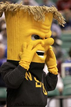 The Wichita State Mascot is in disbelief. We think. Who knows, maybe his face itches. Either way, This great pic comes from a game in the 2006 Men's NCAA tournament. Photo courtesy: Streeter Lecka/Getty Images