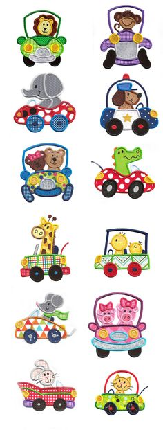 Cute Animals In Cars Applique available for instant download at www.designsbyjuju.com