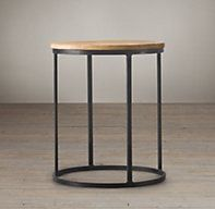 Watts Reclaimed Oak Round Side Tables | Side & Item Tables | Restoration Hardware