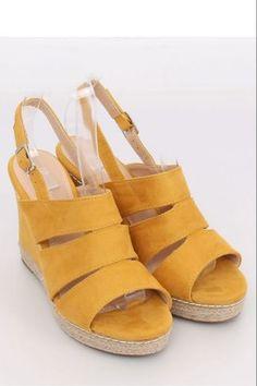 Sandals on wedge heels yellow 9069 Yellow Leather Heels, Suede Leather, Gladiator Sandals, Women's Shoes Sandals, Types Of Heels, Wedge Sandals, Espadrilles, Footwear, Platform