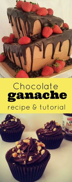 Chocolate Ganche Recipe & Video Tutorial. With ratios for dark, milk or white chocolate. For drizzling {or pouring} chocolate, is perfect for decorating cakes, whether stacking, layering, under fondant, for sculputured cakes or for a quick desert cake.