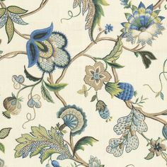 Fleur de Leaf - Royal:  This floral fabric has blue, green and tan flowers and vines on an ivory background.