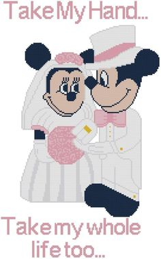 Cross Stitch Knit Crochet Plastic Canvas Waste Canvas Rug Hooking  Bead Work Pattern . This Mickey and Minnie getting married!  Take a look at the pics!  If you know someone getting married this would make a nice gift. You could stitch their names and date on it, etc.  Also I show it in different colors to show  you can match your own wedding or someone else's. This pattern comes printed on 4 pages which is 12 squares printed per inch of paper. https://www.pinterest.com/resparkled/