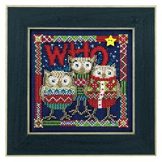 """Who Trio - Kids includes 14 ct midnight blue perforated paper, DMC cotton floss, Mill Hill glass beads, ceramic button, needles, chart and directions. 5.5"""" x 5.5"""" without frame. (frame available, sold separately)"""