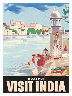 Lake Udaipur: Visit India, c.1957 Kunstdruk