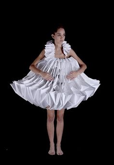 3D Origami Fashion - white paper dress with sculptural design; wearable art; paper couture // Mauricio Velasquez