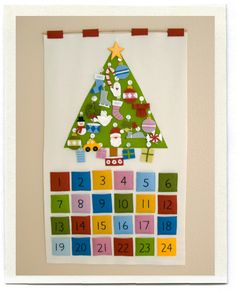 DIY advent calendar - going to make something similar this year for my son. I loved the advent calendar my family had growing up - think this will be a fun part of the holidays for him, too! Felt Advent Calendar, 2 Advent, Advent Calenders, Countdown Calendar, Advent Wreath, Christmas Sewing, Felt Christmas, All Things Christmas, Christmas Holidays