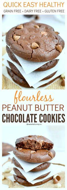 Flourless Peanut Butter Chocolate Cookies Grain Free Paleo