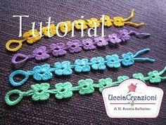 Tutorial 6. * Bracciali Fiore * Simil - Cruciani . How to Flower Crochet Bracelets - YouTube