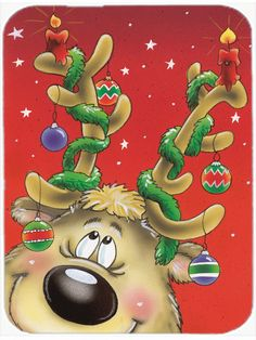 Comic Reindeer with Decorated Antlers Glass Cutting Board