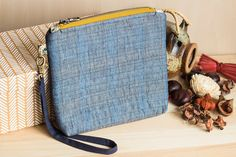 Quilted cosmetic bag blue linen zip makeup bag pouch by SomBags