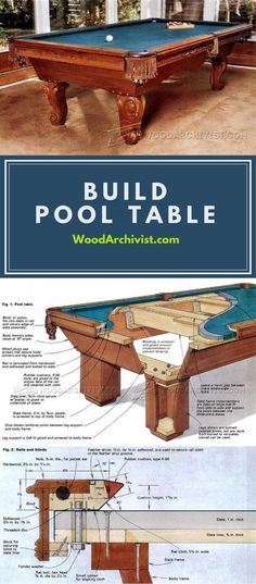 Build Pool Table - Woodworking Plans and Projects | WoodArchivist.com #woodworkingtips #WoodWorkingPlansPattern