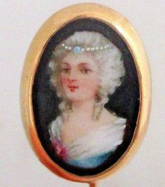Antique 14K Yellow Gold 18th Century Woman's Miniature Portrait Stickpin