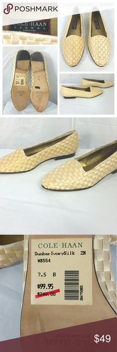 Cole Haan Loafers Flats Shoes Ivory Silk Size 7.5B Cole Haan Women's Loafers Flats Slip On Ivory Silk Weave Shoes 7.5B Hand Made in Italy   Some wear and signs of use on back of shoes. See last 4 photos for details. Overall very good wearable condition Cole Haan Shoes Flats & Loafers