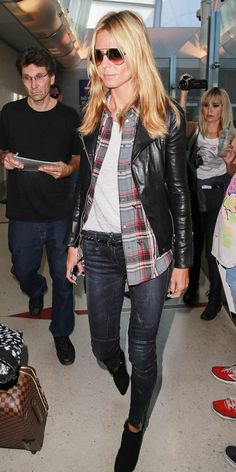 Heidi Klum arrives at LAX airport in a biker-chic ensemble. // #Celebrity #Leather