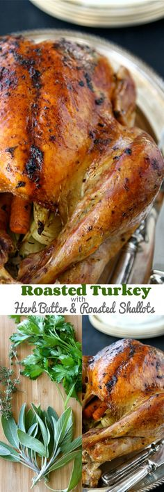 Roasted Turkey with Herb Butter & Roasted Shallots Recipe baked turkey recipes for thanksgiving Thanksgiving Recipes, Holiday Recipes, Dinner Recipes, Thanksgiving Sides, Christmas Desserts, Roast Turkey Recipes, Chicken Recipes, 15 Pound Turkey Recipe, Duck Recipes