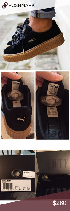 NEW! Fenty x Puma Black Suede Creeper Brand new, purchased from Bloomingdales after latest restock. Never worn, never tried on. This size is SOLD OUT everywhere. Comes with original box and dust bag. Also selling on mercariApp for less comment for inquires. Puma Shoes Sneakers