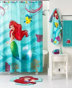 Disney Bath Accessories, Little Mermaid Shimmer and Gleam Shower Curtain (32281007805) Under the sea! Transform your bath space into a Little Mermaid-inspired sea retreat with this shower curtain from Disney, featuring Ariel, Flounder and a whole bunch of seashells and other sea creatures.