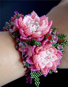 3 Pink Flowers Beaded Bracelet D573 VIRR by VIRR on Etsy                                                                                                                                                     More