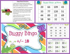 ($) Classic bug themed BINGO game allows students to mentally determine ten less or ten more up to 120. 20 versions of each game (10 less and 10 more).