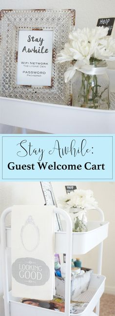 Show your guests how much you care with this Guest Welcome Cart! Our Messy table, guest welcome cart, guest,