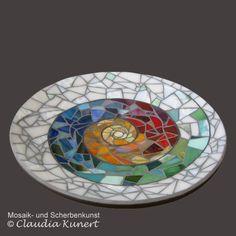Schale mit Glasmosaik, mosaic bowl made by scherbenzauber