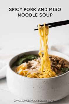 Miso flavoured pork mince marries with a super tasty broth, lots of veggies, egg noodles and a perfectly boiled egg in this pork and miso noodle soup. Miso Broth, Pork Broth, Miso Soup, Noodle Bowls, Soup Recipes, Healthy Recipes, Mince Recipes, Family Recipes, Bon Appetit