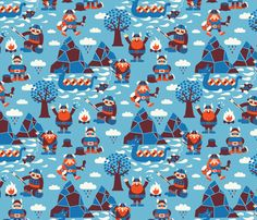 Vikings fabric by bora on Spoonflower - custom fabric, I would love to get it in the knit and make the boys some tees