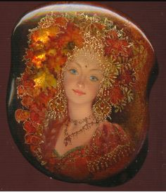 Lacquer miniature painting 'Fedoskino' by Russian artist Yulia Danilina September Art, Realistic Oil Painting, Russian Folk Art, Viking Jewelry, Conte, Box Art, Stone Painting, Art Techniques, Art Forms