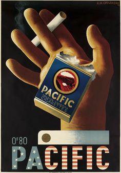cigarette Pacific - 1935 - illustration de Adolphe Mouron Cassandre -