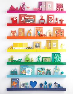 Rainbow shelves would really brighten a dim space up!
