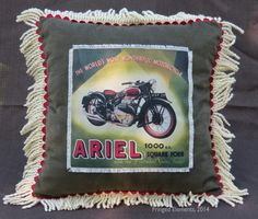 Vintage Ariel Square Four Motorcycle pillow handcrafted by Craig Dorsey