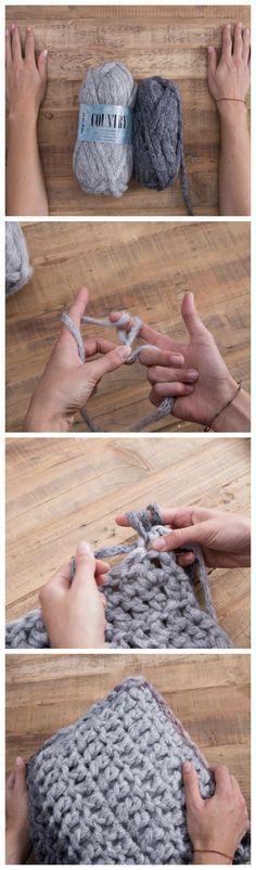 DIY Video: Kissen mit Farbverlauf Fingerhäkeln / finger crocheting: diy inspiration via DaWanda.com                                                                                                                                                                                 Mehr