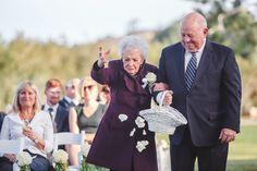 This grandma was the flower girl at her granddaughter's wedding.