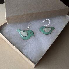 Teal and White Bird Earrings handmade glass by KristopherChavez