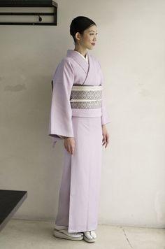 色無地 杉綾柄地紋 Iromuji(colored kimono without designs) of pongee with herringbone weave