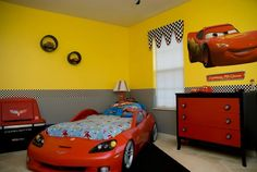 Cars bedroom with Corvette bed.  Custom made valance by MadeByOksana on Etsy.  She was GREAT to work with and I cannot stress how much I recommend her!