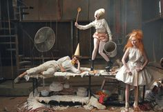 Vogue US December 2009  Hansel and Gretel  Photographed by Annie Leibovitz  Styled by Grace Coddington  Lily Cole, Andrew Garfield, Lady Gaga