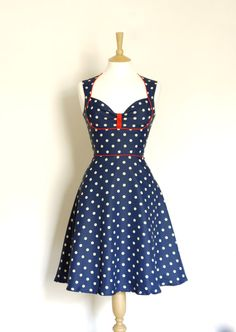 Navy Polka Dot Bustier Tea Dress Made by Dig For by digforvictory, £115.00