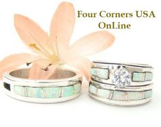 White Fire Opal Inlay Bridal Wedding Ring Sets by Wilbert Muskett Jr. Four Corners USA OnLine Native American Indian Silver Jewelry http://stores.fourcornersusaonline.com/white-fire-opal-wedding-band-ring-sets/
