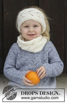 Eirlys - Set consists of: Knitted head band and neck warmer with lace pattern for kids. Size 2 - 12 years Set is knitted in DROPS Air. Free knitted pattern DROPS Children 30-19
