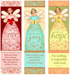 Angelic Trio - Love - Hope- Joy - Bible Bookmarks Digital Download KD024 Clip Art and Crafting
